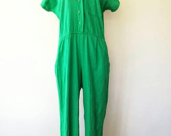Vintage 1980s Kelly Green short sleeve jumpsuit cotton and linen