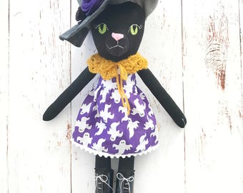 Black Cat doll: halloween witch cat with purple dress and gray hat