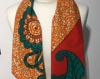 African print head tie, wax print accessories, African print scarf
