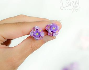 FLOWERS STUD EARRINGS - lilac earrings - polymer clay earrings - tiny earrings - cute earrings - summer earrings - miniature flower earrings