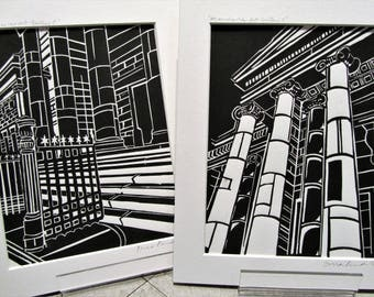 Manchester Art Gallery,lino print, monochrome (pair)