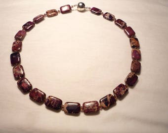 Necklace, Bead necklace, Purple necklace, Short necklace.