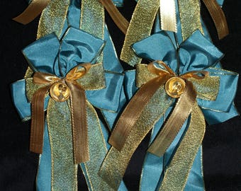 4 turquoise/gold bows with bell-handmade-last set
