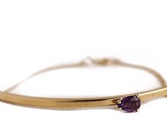 "Vintage Amethyst Bracelet - 14k Gold Filled Purple Gemstone 7"" Bracelet - February Birthstone"