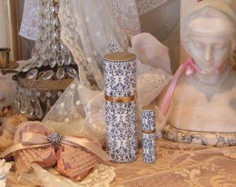 Vintage Guerlain, Shalimar Perfume Bottles, Blue and White, Shabby Chic Decor, French Cottage, Romantic