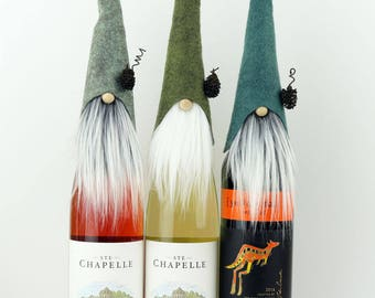 SET of THREE Gnome Wine Bottle Toppers ~ Nordic Gnomes ~ Christmas Party Gift