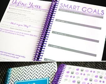 Diet Fitness Planner, Nutrition Weight Loss Journal - Diet Diary, Weight Loss Tracker, PURPLE, IIFYM, Fitness Motivation Journal - 8 Week