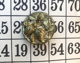 Antique metal strawberry pierced picture button
