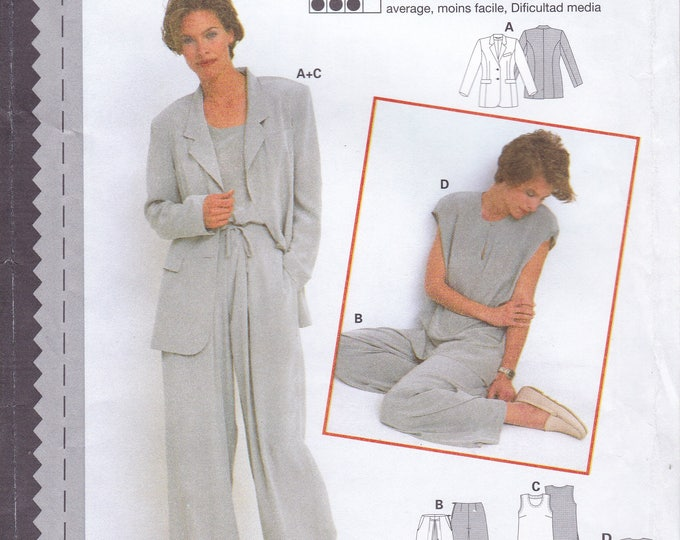 FREE US SHIP Sewing Pattern Burda 3485 Size 10 12 14 16 18 20 Bust 32 34 36 38 40 42 Plus Uncut Jacket top pants Loose Fitting Uncut Couture