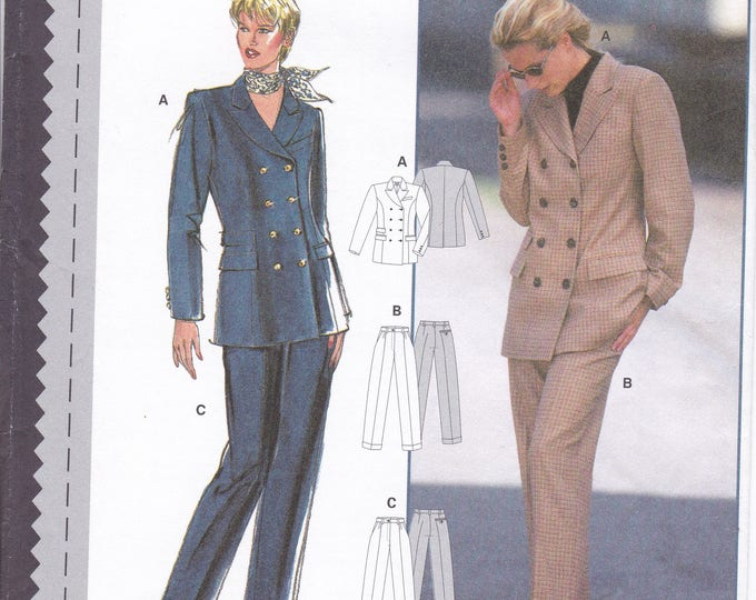 FREE US SHIP Sewing Pattern Burda 3076 Size 10 12 14 16 18 20 Bust 32 34 36 38 40 42 Plus Uncut Double Breasted Jacket Pants Suit new