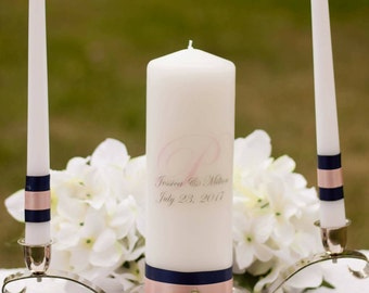 navy and blush personalized unity candle set wedding gift navy and pink candle