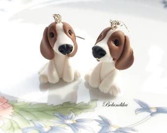 Beagle earrings,polymer clay earrings,fimo,dog