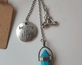Stone Keychain fine turquoise with charms yoga and believe in love.