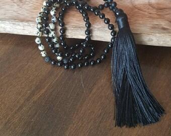 Mala onyx, Jasper Dalmatian and lava stone, 108 beads, gemstones, yoga, meditation