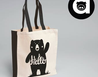 Hello Bear Tote Bag - Canvas Tote Bag - Quote Tote Bag - Cotton Bag - Shopping Bag - Tote Bag - Natural Tote Bag - Funny Tote Bag