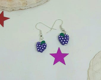 Purple and white fruit earrings