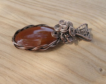 Imperial jasper pendant, Wire wrapped pendant, Natural stone necklace, Cooper wire pendant, Unique jewelry, Wire wrapped jewelry, Handmade
