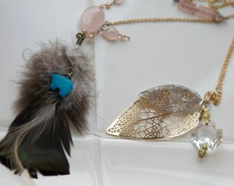 Antique Chandelier Crystal Feather Necklace | Humane Feathers | Turquoise Bear Bead | Rose Quartz | Glass beads | Long Layering Necklace