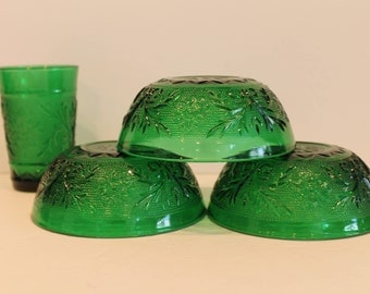 Anchor Hocking Forest Green Sandwich Pattern Berry Bowls and Juice Glass
