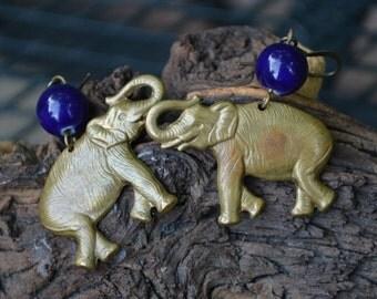 Brass Elephant Earrings with Dark Blue Stone