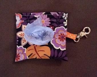 Purple & Orange Floral Dog Waste Bag Holder