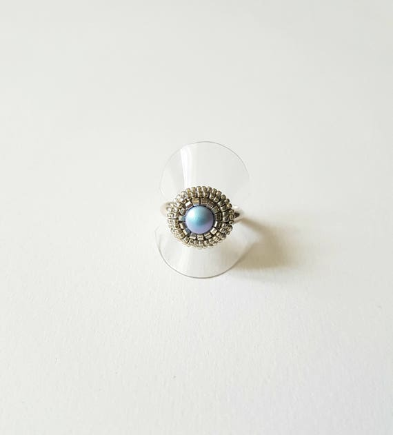 Small crystal pearly blue ring