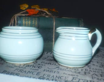 Quite vintage (c.1930s) Sudlows Burslem 01521 pattern hand-decorated cream and sugar bowl set.  Mint green | turquoise, gold bands and edge
