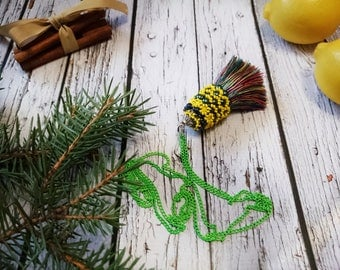 Long necklace multi color tassel chain green multi colored seed beads glass beads colorful tassel textile pendant tassel necklace beading
