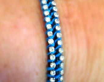 Leather Wrap Bracelet, Double Wrap Bracelet, Rhinestones Bracelet, Trendy Boho Bracelet, Blue, Ladies 2 Wrap Bracelet, Electric Glam