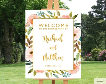 Engagement Party Decorations Rustic, Engagement Party Decor, Sign, Printable, Ideas, Banner, Floral, Gold, Welcome Sign, Engagement Decor