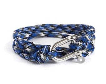 Shackle Bracelet, Blue Ocean Camouflage & Silver, Sailing Rope Bracelet, Mens Bracelet, Nautical Jewellery.