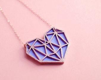 Laser Cut Pastel Purple Geometric Heart Necklace / Wooden Hand Painted Lavender Minimalist Pendant / 14K Rose Gold Filled Chain / Metallic