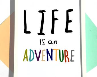 Life is an Adventure Print, A3 Inspirational Quote, Typography Print, Motivational Print, Kids Print, Hand Lettered Print, Bedroom Art