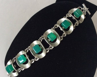 Teal Green Lucite Cube Silver Tone Cupped Link Bracelet