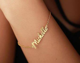 Personalized Name Bracelet- Custom Gold Bracelet-Gold Name Bracelets-Bridesmaid Gift-Personalized Gift-Valentine days-Valentine Gift