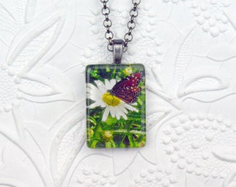 Butterfly and Daisy Photo Necklace Rectangle Pendant Butterfly Jewelry Butterfly Necklace Daisy Necklace Daisy Jewelry