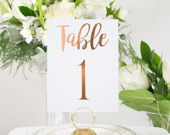 Copper Foil Table Numbers Handmade Wedding Style #0102
