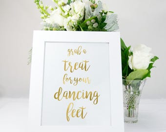 Dancing Shoes Sign in Gold Foil, Elegant, Unique, Chic, Bridal, available in gold, copper, rose gold, or silver