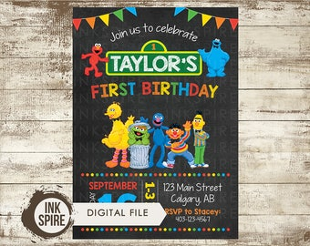 Sesame street invitation etsy sesame street invite sesame street invitation sesame street party elmo party cookie pronofoot35fo Images
