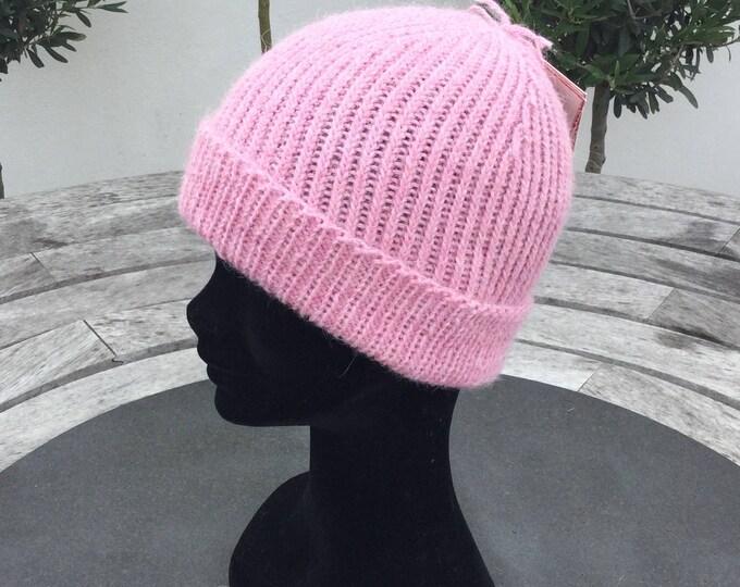Ladies Alpaca beanie hat, pink alpaca watch cap by Willow Luxury (one size)