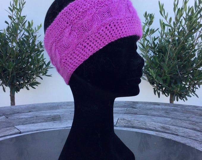Ladies cerise pink pure cashmere cable headband / ear warmer by Willow Luxury (one size)