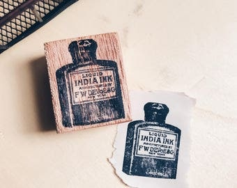 Wood Mounted Rubber Stamp - India Ink