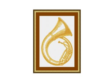 Helicon Tuba Musical Instrument Counted Cross Stitch Pattern / Chart, Instant Digital Download (AP150)