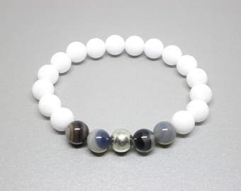 Depression and anxiety bracelet, balance bracelet, balance jewelry, Botswana agate and white jade, comforting and soothing, stress relief