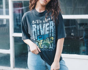 Vintage Billy Joel tee - faded black worn in thin soft - River of Dreams your 1994-1995 90s band tour music merch grunge unisex ladies mens