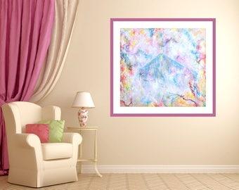Canvas Giclée Print, Impressionist Style, Modern Wall Art, Green Pink Landscape Painting, Pyramid Motif, Print Original Art, Luxory Decor