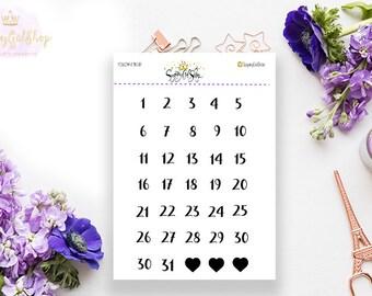 Date Numbers Planner Sticker Sheet
