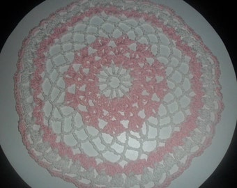 Pink and White Crochet Doily