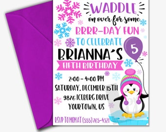 Penguin Birthday Invitation | Winter Birthday Invitation | Girl Birthday Invitation | Digital Invitation |Design 17082