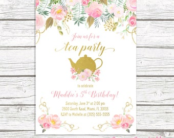 Tea Party Birthday Invitation Pink And Gold Girl